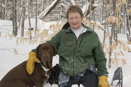 "Mary Holland and dog ""Emma"""